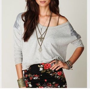 FREE PEOPLE XS SEQUIN SHOULDER PULLOVER